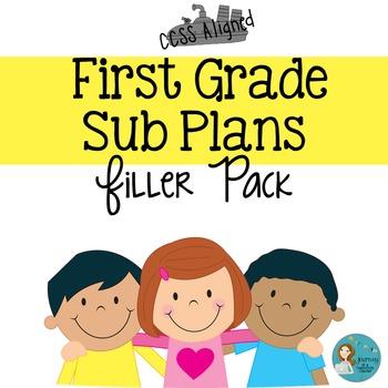 First Grade Sub Plans Filler Pack
