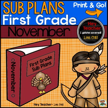 First Grade Sub Plans [November-Thanksgiving]