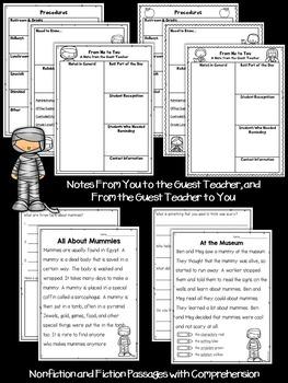 First Grade Sub Plans October Mummy