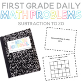 First Grade Daily Math Problems:  Subtraction to 20