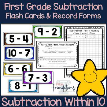 First Grade Subtraction Flash Cards {Subtracting within 10 Flashcards}