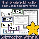 First Grade Subtraction Flash Cards {Subtract within 10 Flashcards}