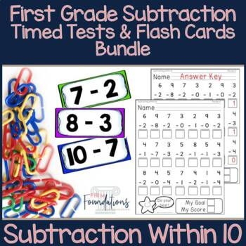 First Grade Subtraction Flash Cards and Timed Tests Bundle {within 10}