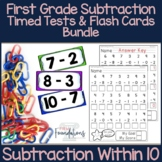 First Grade Subtraction Flash Cards and Timed Tests Bundle {subtract within 10}
