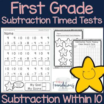 First Grade Subtraction Timed Tests {Subtraction within 10 Speed Drills}