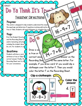 First Grade Subtraction Unit to 20
