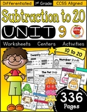 First Grade Subtraction to 20: Unit 9 | CCSS Aligned & Differentiated