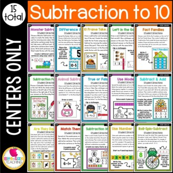 First Grade Subtraction to 10 Centers