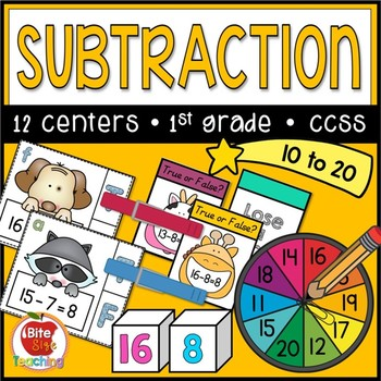 First Grade Subtraction to 20 Centers