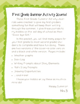 First Grade Summer Activity Journal