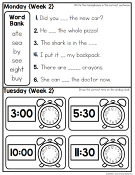 First Grade Summer Review Homework {Editable}