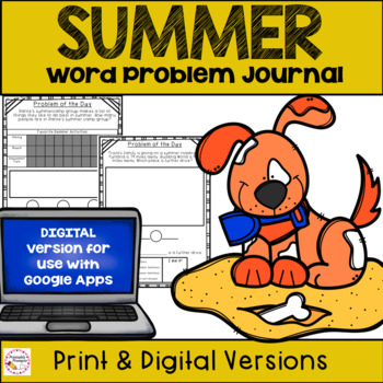 First Grade Summer Math Journal- Spiraled Word Problem Practice