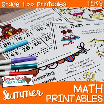 First Grade Summer Math No Prep Printables {TEKS/CCSS}