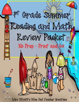 First Grade Summer Reading and Math Review--No Prep Print and Go!