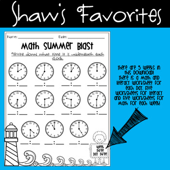 First Grade Summer Review Packet + Flash Cards