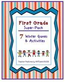 First Grade Super-Pack: 7 Winter Literacy Games & Activities
