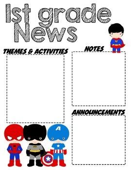 First Grade Superhero - Editable Newsletter