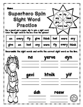 First Grade Superhero Sight Word Packet