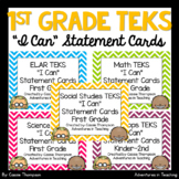 First Grade TEKS I Can Statement Cards- All Subject BUNDLE- Bright Chevron