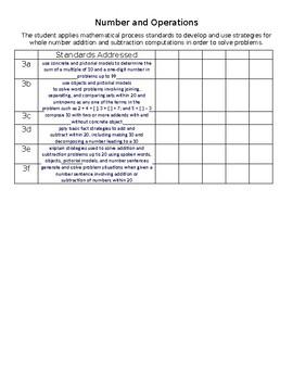 First Grade TEKS Checkpoint List