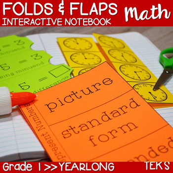 First Grade TEKS Interactive Math Notebook Folds & Flaps