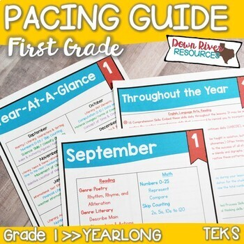 First Grade TEKS Year Planner-Back to School-Texas 1st Cur