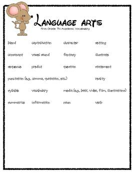 First Grade TN Academic Vocabulary