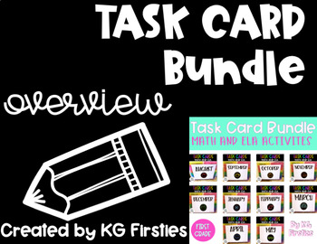 First Grade Task Card Monthly Overview