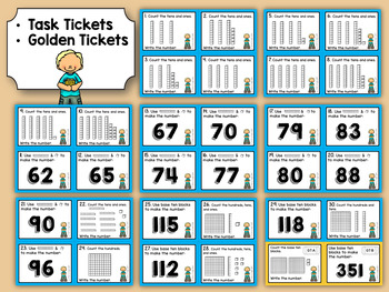First Grade Task Tickets: Math: Base Ten Place Value (Differentiated)