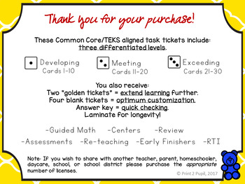 First Grade Task Tickets: Math: Counting Forward and Backward (Differentiated)