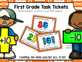 First Grade Task Tickets: Math: Counting Ten More & Ten Le