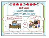 First Grade Teacher Checklist for Common Core Standards (U