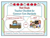 First Grade Teacher Checklists for Common Core Standards (