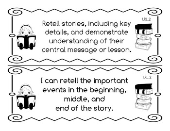 First Grade Teacher/Kid Friendly Common Core Style Cards Black & White