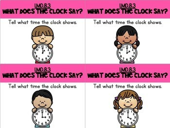 First Grade Telling Time Task Cards