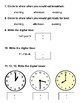 First Grade Telling Time Test