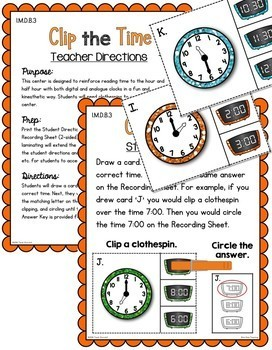 First Grade Telling Time Unit