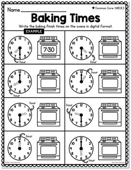(1.MD.3) Time: Hour and Half Hour -1st Grade Common Core ...  |Common Core Time Worksheets