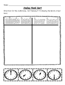 First Grade Telling Time to the Half Hour