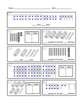 First Grade Tens and Ones Worksheet by Maria Davis | TpT