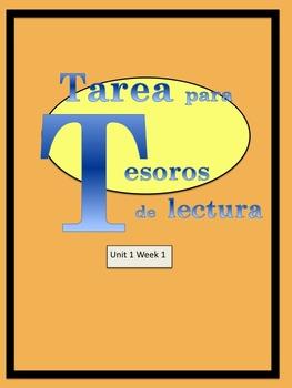 First Grade Tesoros de lectura Homework Package Unidad 1 Semana 1