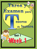 First Grade Tesoros de lectura Homework Package Bundle Unit 1 Weeks 1 - 5