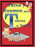 First Grade Tesoros de lectura Homework Package Bundle Unit 5 Weeks 1 - 5
