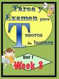 First Grade Tesoros de lectura Homework Package Unidad 1 Semana 3