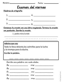 First Grade Tesoros de lectura Homework Package Unidad 2 Semana 1