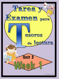First Grade Tesoros de lectura Homework Package Unidad 3 Semana 1