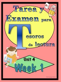 First Grade Tesoros de lectura Homework Package Unidad 4 Semana 1