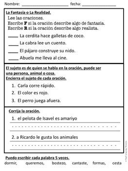 First Grade Tesoros de lectura Homework Package Unidad 6 Semana 1
