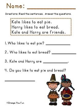 First Grade Thanksgiving Activity Bundle Packet
