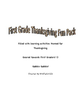 First Grade Thanksgiving Fun Pack